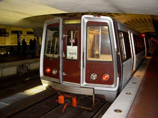 """On October 26, while Matthew Tilley and I were out railfanning, the mysterious """"WHITE"""" sign made another appearance, this time on Breda 3208 at L'Enfant Plaza."""