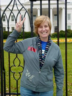 Going through Lafayette Park to Pennsylvania Avenue, I met Cindy Sheehan. Here, she strikes a pose in front of the White House.
