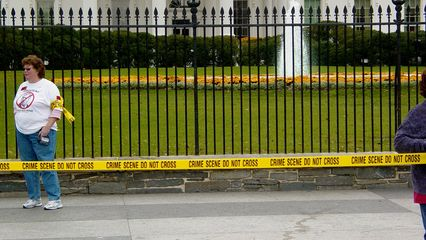 Sheehan was at the White House as part of an anti-war demonstration that sought to make the White House appear to be a crime scene (war crimes, that is).