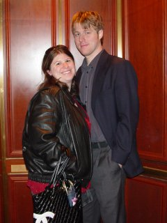 Sis and Chris pose for a photo in the elevator at the George Washington Masonic National Memorial in Alexandria.