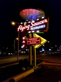 Sign for the Flying Saucer Restaurant.