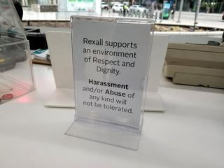 I loved this sign on the counter at the Rexall. It's a friendly reminder to keep it civil and professional with the people who are charged with helping you with your shopping.