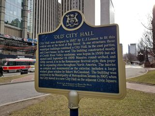 The historical marker for Old City Hall.