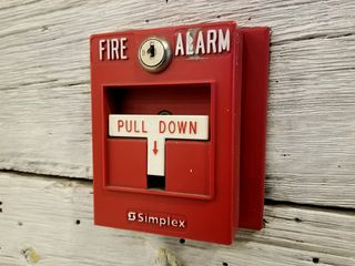 Fire alarms at the store. The store currently has a Simplex system, with two-stage T-bar pull stations, and ceiling-mounted bilingual SpectrAlert Advance speaker/strobes.