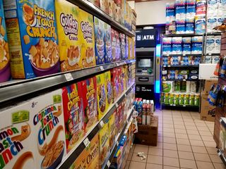The cereal aisle, showing how short these aisles are.