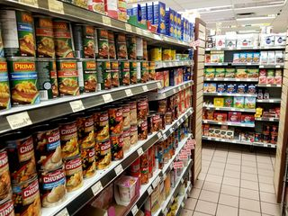 The soup aisle, along the long axis of the store.