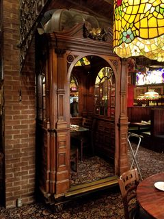 The elevator car, now a dining booth.