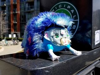 A toy hedgehog on top of a parking meter, with a broken face. I believe that this is a Zoomer Hedgiez toy.