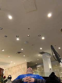 """Elyse questioned my mindlessly staring at the ceiling, as seen in this photo. My response, referring to that access panel in the ceiling, was, """"That's just the hatchiest hatch I've ever seen!"""""""