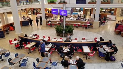 The food court at Pickering Town Centre, seen from the upper level.