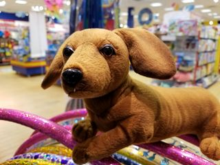 This stuffed dachshund was adorable, and reminded me a little of Greta.