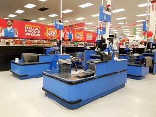 One thing that surprised me was the lack of bagging wheels at Walmart in Canada, seen here at the front registers (left) and the electronics register.