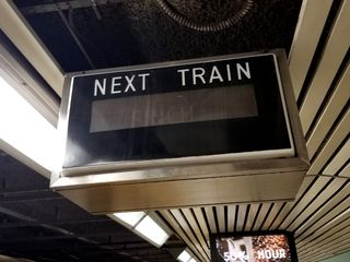Next train sign, showing that the train is going to Finch.