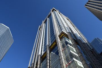 The Simpson Tower at the northwest corner of the store, still undergoing recladding.