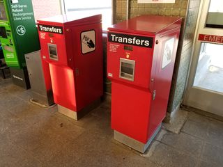 """The transfer machines. These are different machines than what was onToday's Special, but they're in the same location as before. While getting a transfer, I said, in my best Sam Crenshaw voice, """"And with one of these, you can get off the subway and get on a streetcar or a bus!"""""""