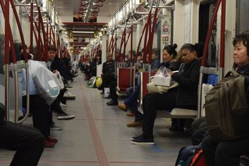 Inside our Toronto Rocket train. I really enjoyed watching these open gangway trains in action.