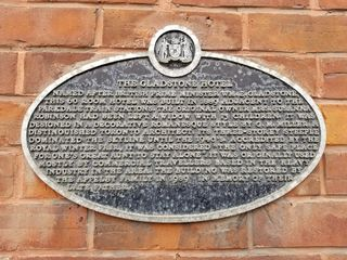 Historical marker at the Gladstone, similar to the one at the store.