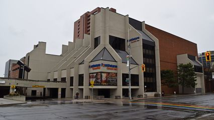 Arriving at the Hamilton Place Theatre, after figuring out the parking situation, I got some exterior photos in the rain.