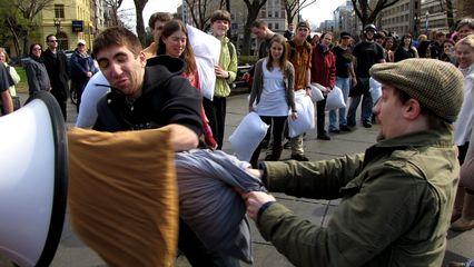Dupont Circle pillow fight, April 2, 2011