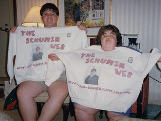 Matching Schumin Web shirts, August 9, 1999