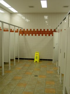 The restrooms... wow! This is nice. Big ceramic tiles and a red border make this more upscale than your average rest area.