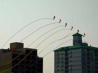 With the oceanfront hotels in the background, the kite flies.
