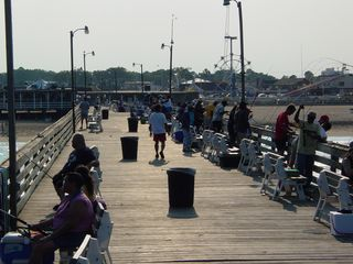 Lots of people were out fishing off the sides of the pier on this particular day.