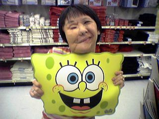 The amount of SpongeBob SquarePants stuff is really amazing.  What Becky's holding up is actually a placemat for children.