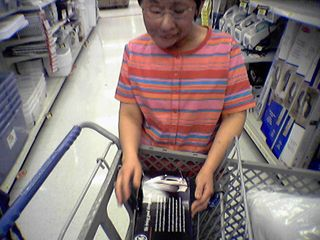 Becky also bought an iron, and placed it firmly in the cart.
