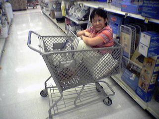 And after placing the iron firmly in the cart, she then placed herself firmly in the cart.  I even offered to wheel her around in it, but she decided to climb back out (awww...).