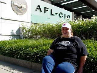 Katie and I took photos of each other in front of the AFL-CIO building.