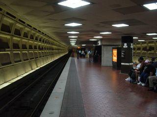 LED lighting underneath the mezzanine at Foggy Bottom-GWU station. It certainly makes for a bright platform!