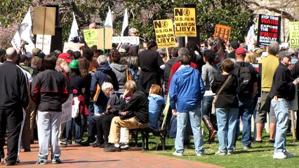 This was definitely an older crowd than many of the anti-war demonstrations that I have participated in.