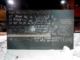 Katie and I got our first glance of Charlottesville's free speech wall, rising out of the snow.