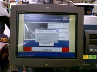 I was far less surprised two days later, however, to see that one of the Fastlanes at the Waynesboro Wal-Mart, which run Windows XP, had crashed.