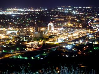 And of course, downtown Roanoke, with the Wachovia Tower in center position, is brightly lit as always.