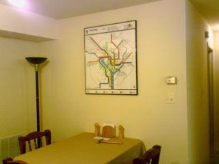 Meanwhile, having moved to Silver Spring, by June 24, I finally got my WMATA map on the wall. That took a while to arrive, as Mom brought it up when we went to IKEA to go shopping for the bed. Looks good over the table, doesn't it? It has turned out to be especially helpful when I have guests over, and I can explain where we're going and how we're getting there.