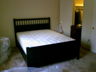 On the morning of July 1, I finished putting the bed together. By that evening, I had it all fitted out with sheets, pillows, and a comforter.