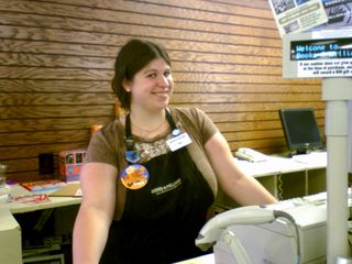 On my August 11-12 trip to Stuarts Draft, look who was behind the counter at the Books-A-Million at Staunton Mall! Yes, my sister worked for Books-A-Million just prior to moving to Chicago.