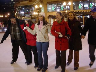 On December 4, I went down to Pentagon City, and encountered the on-air news team for WZDC, a local Spanish-language station affiliated with the Telemundo network, filming a promo at the skating rink. I never did get to see the finished product, unfortunately.