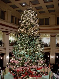 After leaving Daley Plaza, we went to the Macy's on State Street, formerly the flagship store for Marshall Field's. They had a tremendous Christmas tree in their restaurant.