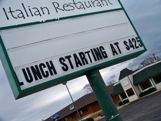 On January 2, I encountered this little gem at Sanzone's Italian Restaurant in Stuarts Draft. In this case, lunch was starting at $425 - ah, just kidding, make that $4.25. Always remember to properly punctuate, because for $425, that had better be the best Italian food I've ever seen...