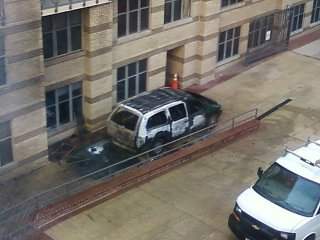 This burned out van, five days before the inauguration of President Obama, certainly caused some confusion at the office where I work. While our building was unaffected, the smoke traveled, being visible on the far side of the building, and led one concerned person inside our building to pull the fire alarm. While the car fire was definitely legitimate, the fact that it happened so close to the inauguration raised a few eyebrows nonetheless.