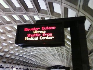 At Judiciary Square station on January 28, I noticed an unusual elevator outage message. In this case, the signage indicated that an elevator was out at Vienna (an Orange Line station), and so people should go to Medical Center (a Red Line station) for shuttle service. That made no sense, considering the distance between the stations, and that West Falls Church is usually the shuttle destination when Vienna's elevator stops working. I believe it's more likely that the elevator was out at Bethesda, which is right next to Medical Center.