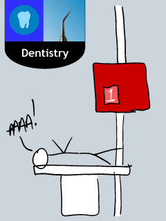 """This doodle, at left, is one I did after a coworker agreed with my description of their dentist's office as """"the Wal-Mart of dentist's offices"""". Note the fact that no employee can be found (in typical Wal-Mart form), and the patient is screaming in pain, probably because Wal-Mart would skimp on the anesthesia to keep prices down. I later colored it in and added a proper department sign, to make its Wal-Martness complete."""