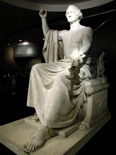 The statue of George Washington, intended for the Capitol, was exactly where it always has been, even since before the renovation. Considering that the terrazzo flooring was the same here, I wonder if they didn't just cover George up and renovate around him...