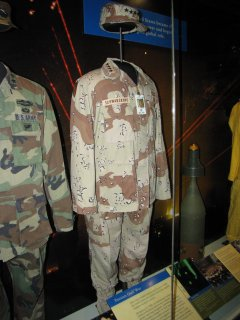 General Norman Schwartzkopf's uniform from Operation Desert Storm. I was nine years old when that conflict broke out, and I remember getting him confused with Arnold Schwarzenegger back then. Schwartzkopf, Schwarzenegger... you can kind of see where I might do that at age nine, no?