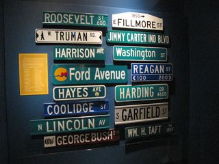 This was an exhibit giving an example of streets named for US presidents. My challenge to myself was to figure out which cities that these signs all came from without looking at the key. The Fillmore Street sign (top right) is definitely Philadelphia due to its distinctive shape. The Garfield Street sign (second from bottom, right) is likely Arlington, Virginia. Can you figure any more out?