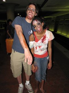 At Metro Center, we ran into two of the zombie walk participants, who were more than happy to pose for the camera, in character.