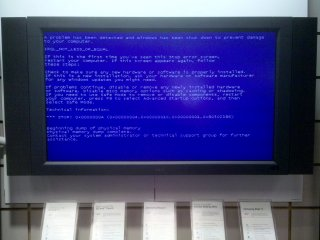 When I was stopping by the Verizon store in College Park for some service on my Droid, I noticed this screen, normally used to display information about various Verizon products, was this time showing information of a decidedly different nature. Specifically, we all learned that this display was running Windows, as this was a Blue Screen of Death...